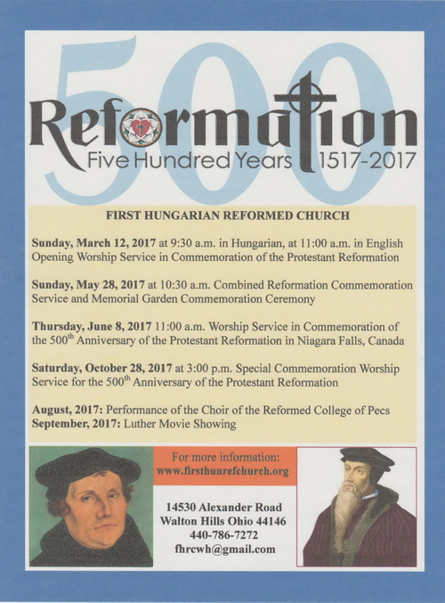 Events in Commemoration of the 500th Anniversary of the Protestant Reformation