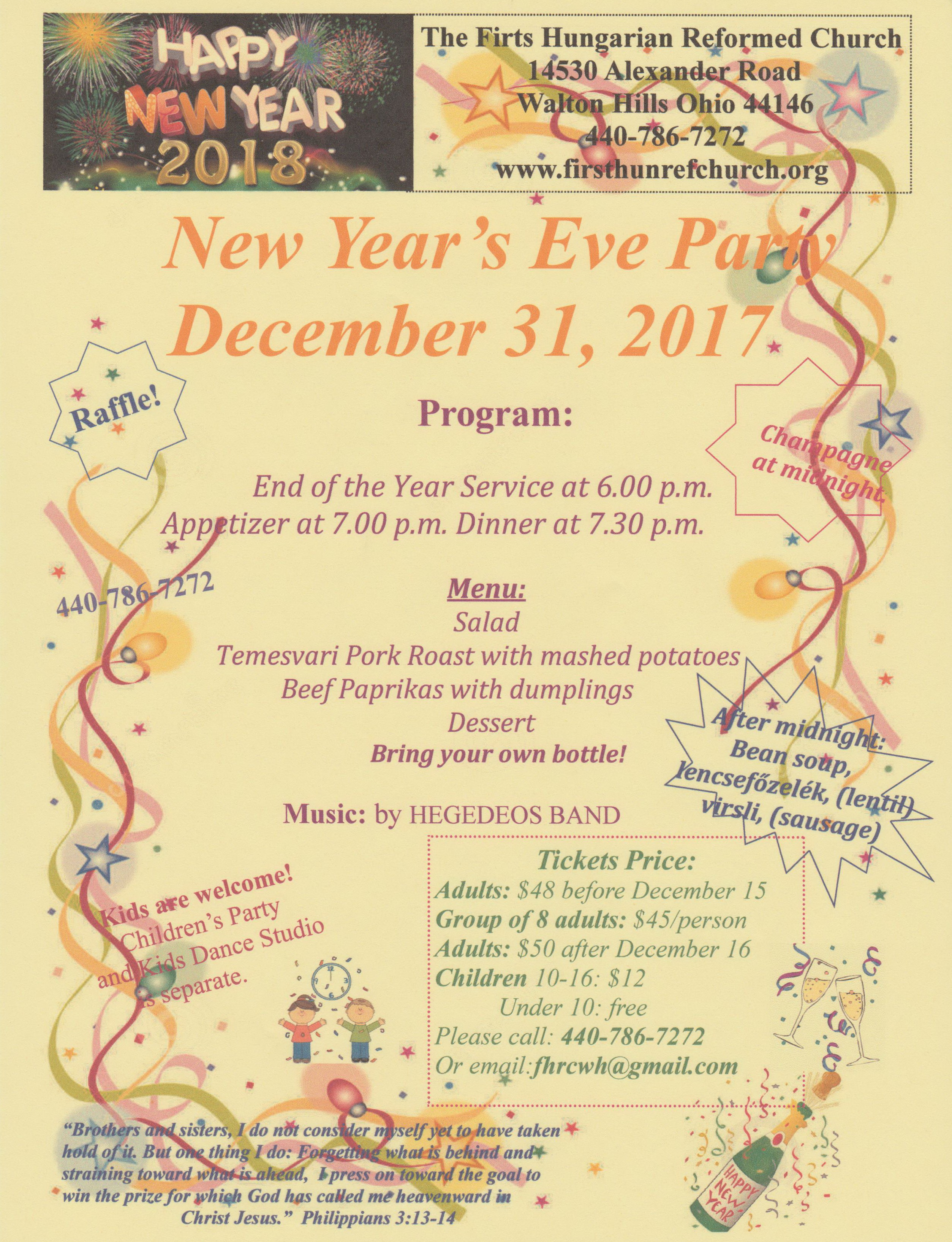 New Year's Eve Party<br> Sunday, December 31, 2017